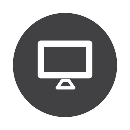black button: White Computer Screen icon on black button isolated on white