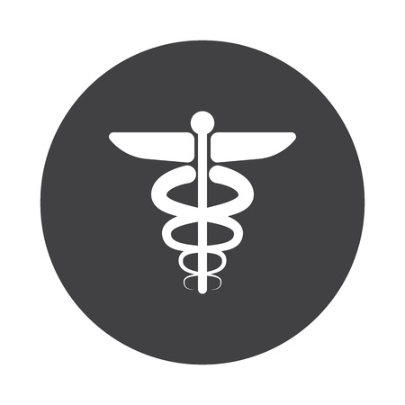 staff of aesculapius: White Medical Symbol icon on black button isolated on white Illustration