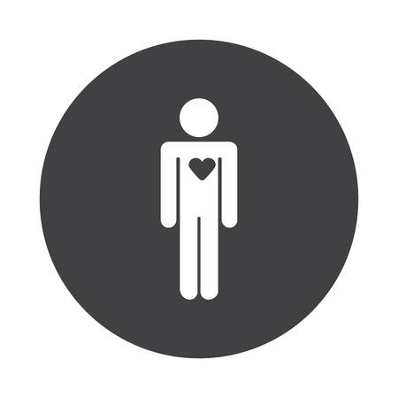 White Heart icon on black button isolated on white