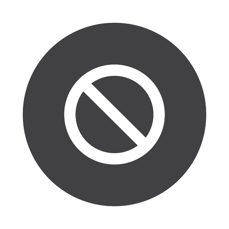 suppression: White Forbidden icon on black button isolated on white