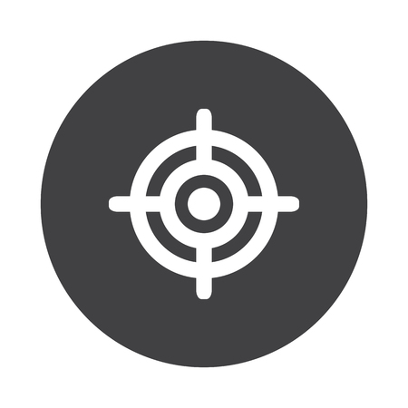 black button: White Target icon on black button isolated on white