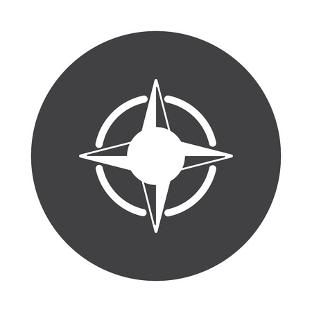 compass rose: White Compass Rose icon on black button isolated on white Illustration