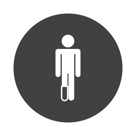 White Foot icon on black button isolated on white