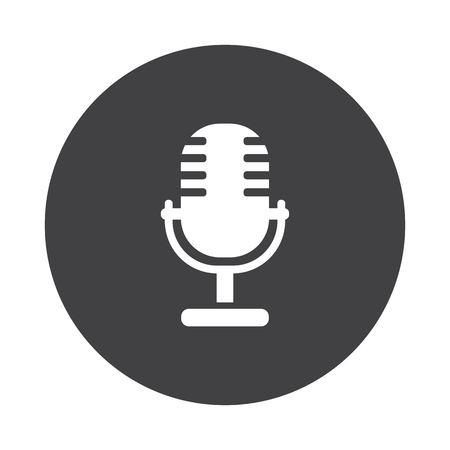 pod cast: White Microphone icon on black button isolated on white Illustration