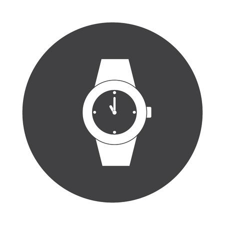wrist: White Wrist Watch icon on black button isolated on white