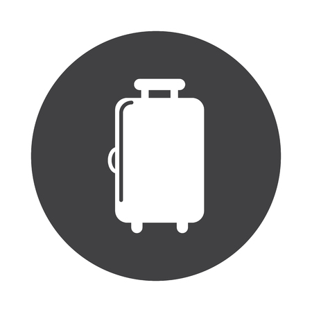 black button: White Luggage icon on black button isolated on white