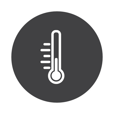 White Temperature icon on black button isolated on white Vektorové ilustrace