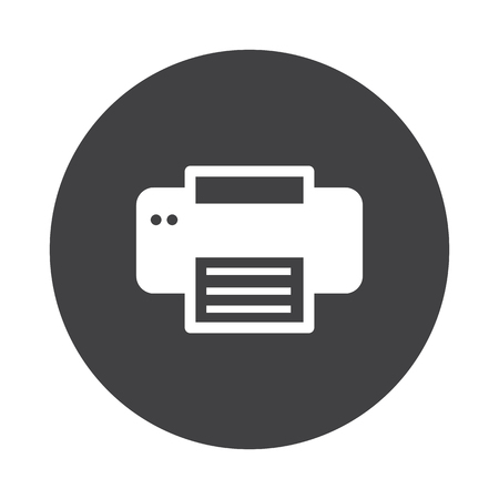 black button: White Printer icon on black button isolated on white