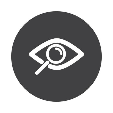 Blanc Observer icône sur le bouton noir isolé sur blanc Vecteurs