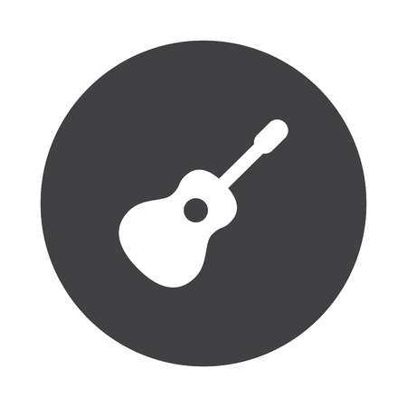black button: White Guitar icon on black button isolated on white