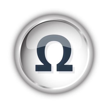 antioxidant: Web button with black Omega icon on white background
