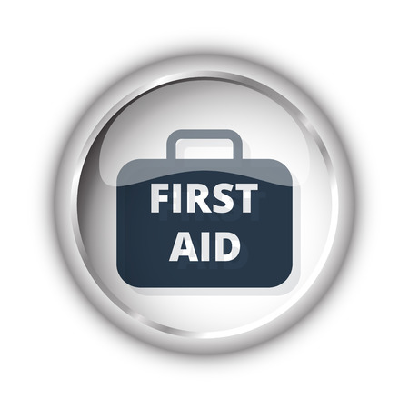 firstaid: Web button with black First Aid Kit icon on white background Illustration