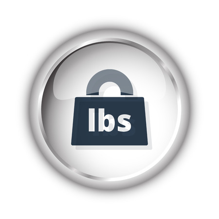 lbs: Web button with black Weight Pounds icon on white background