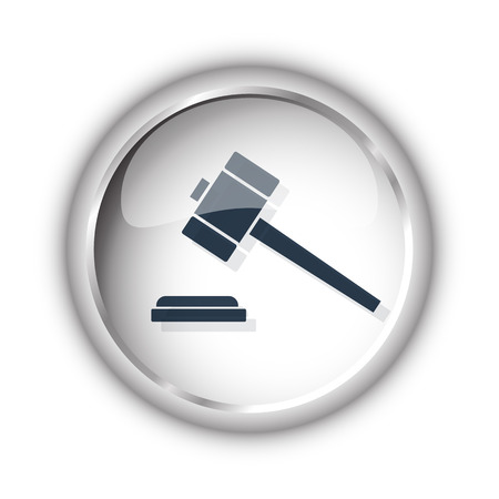 Web button with black Law Gavel icon on white background