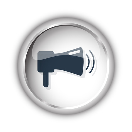 Web button with black Megaphone icon on white background