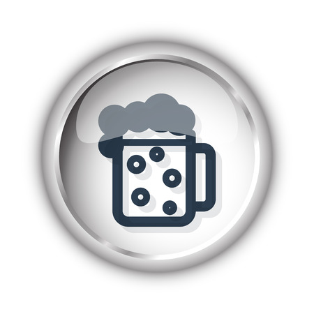 draughts: Web button with black Beer icon on white background