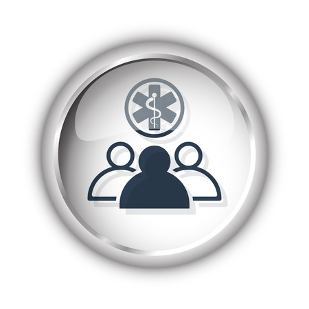medical team: Web button with black Medical Team icon on white background