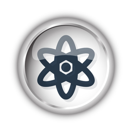 nuclear fission: Web button with black Nuclear icon on white background Illustration