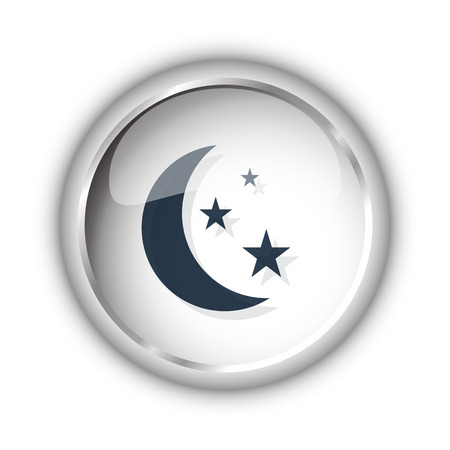Web button with black Moon And Stars icon on white background