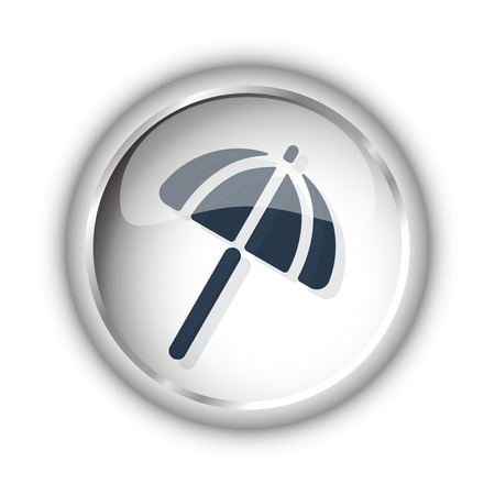 sunshade: Web button with black Parasol icon on white background Illustration