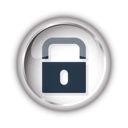 black and white lock: Web button with black Lock icon on white background