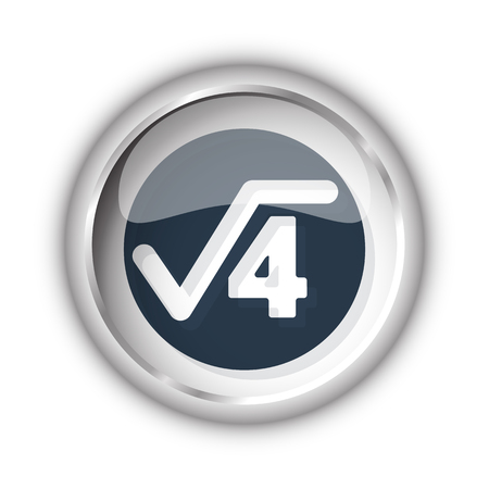 square root: Web button with black Square Root icon on white background