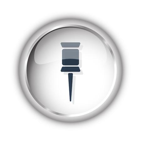white pushpin: Web button with black Pushpin icon on white background