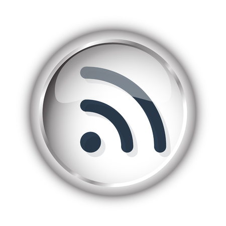 Web button with black Rss icon on white background