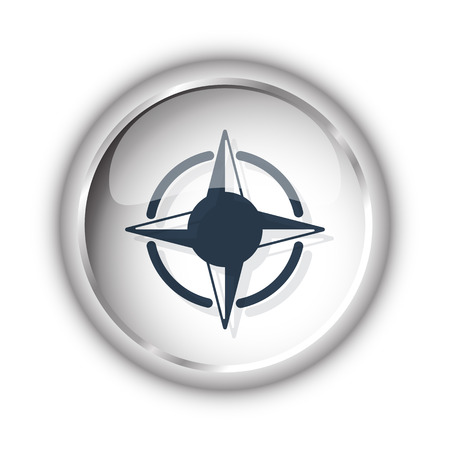 compass rose: Web button with black Compass Rose icon on white background Illustration