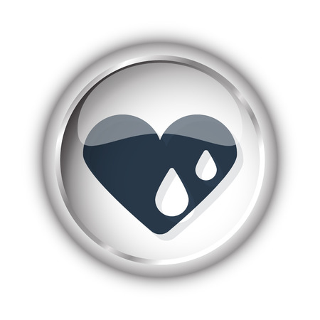 Web button with black Heart Water icon on white background