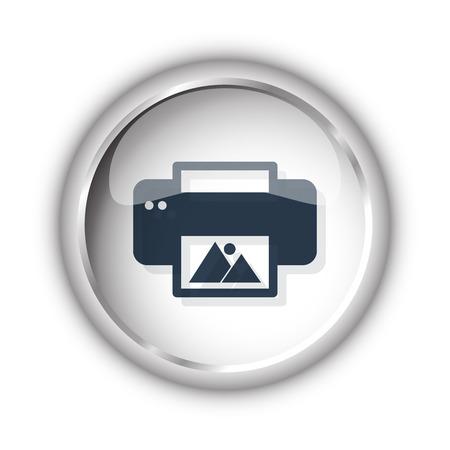 photo printer: Web button with black Photo Printing icon on white background Illustration