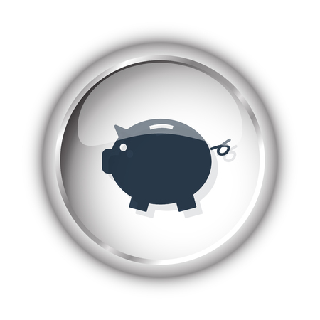 Web button with black Piggy Bank icon on white background