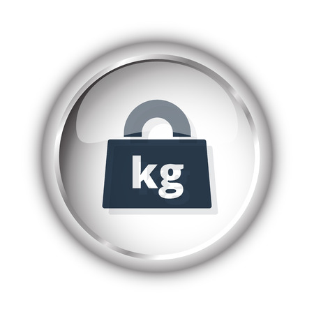 Web button with black Weight Kilograms icon on white background