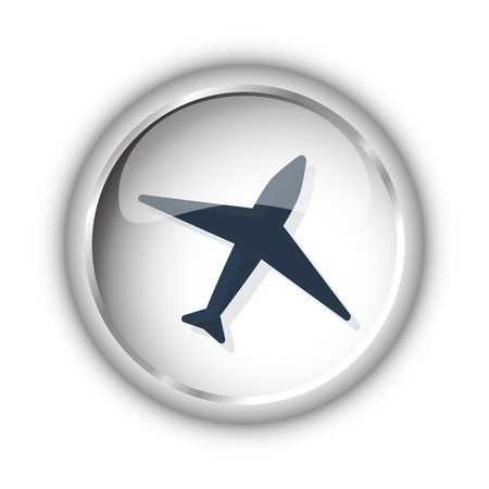 Web button with black Airplane icon on white background Illustration