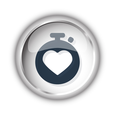 Web button with black Heart Rate Monitor icon on white background