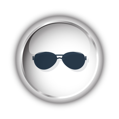 Web button with black Sunglasses icon on white background