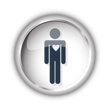 heart failure: Web button with black Heart icon on white background