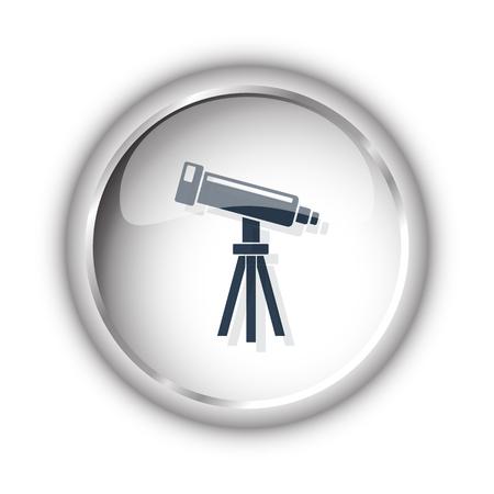 Web button with black Telescope icon on white background