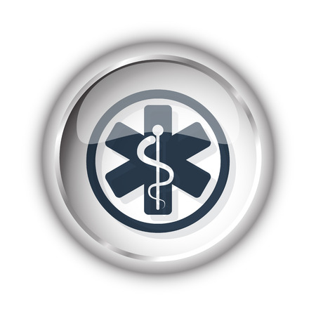 Web button with black Medical  icon on white background Illustration