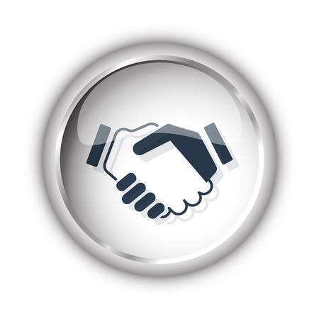black handshake: Web button with black Handshake Agreement icon on white background