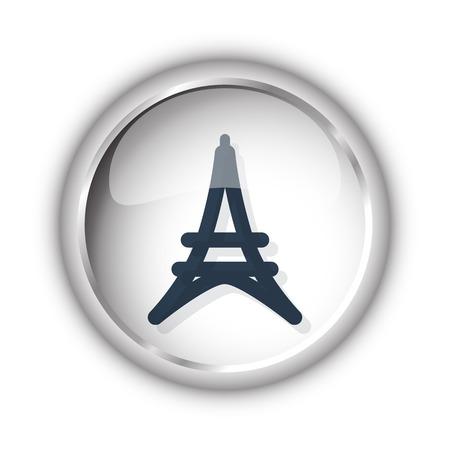 metal black: Web button with black Eiffel Tower icon on white background