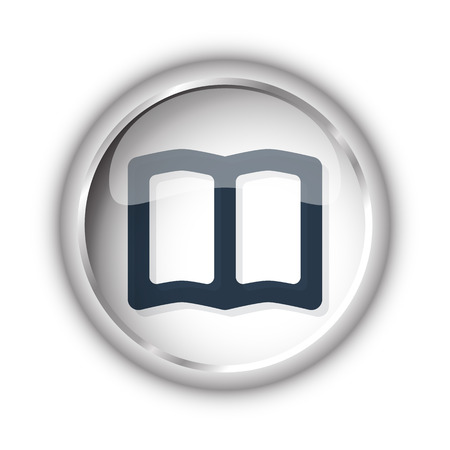 reading app: Web button with black Book icon on white background