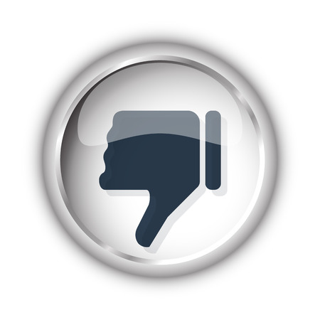 thumb down: Web button with black Thumb Down icon on white background Illustration