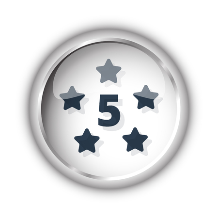 five star: Web button with black Five Star icon on white background Illustration
