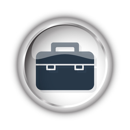 black briefcase: Web button with black Briefcase icon on white background Illustration