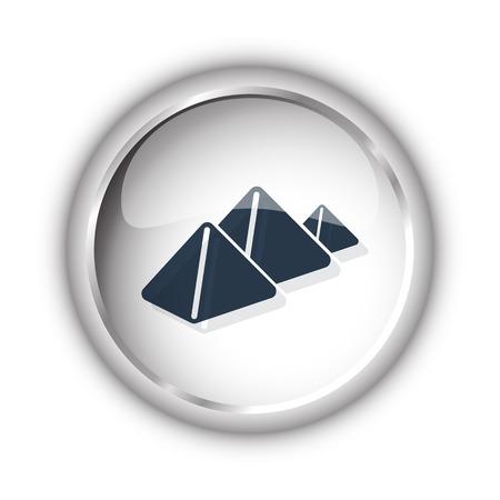 Web button with black Pyramids icon on white background