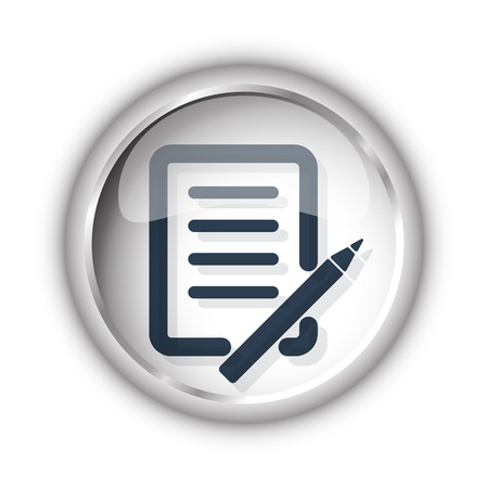 Web button with black Pen And Paper icon on white background Illustration