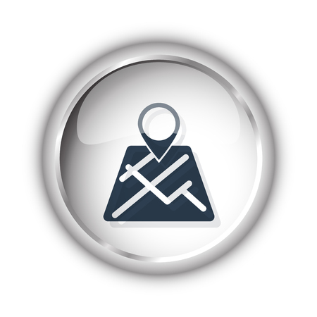 white pointer: Web button with black Map Pointer icon on white background