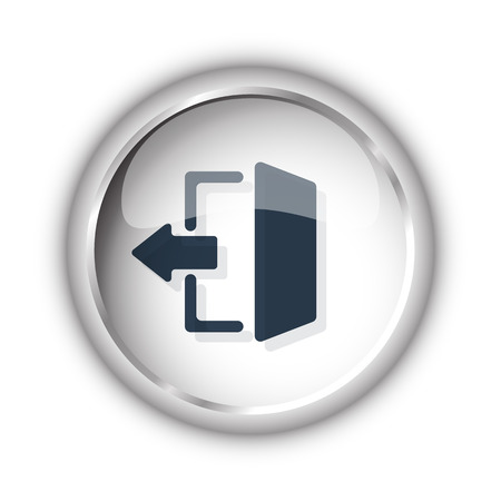 exit icon: Web button with black Exit icon on white background