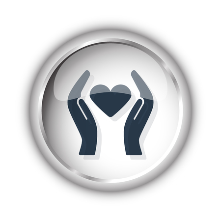 goodness: Web button with black Heart care icon on white background